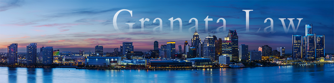 Detroit, Michigan Skyline with the words (Granata Law) in text